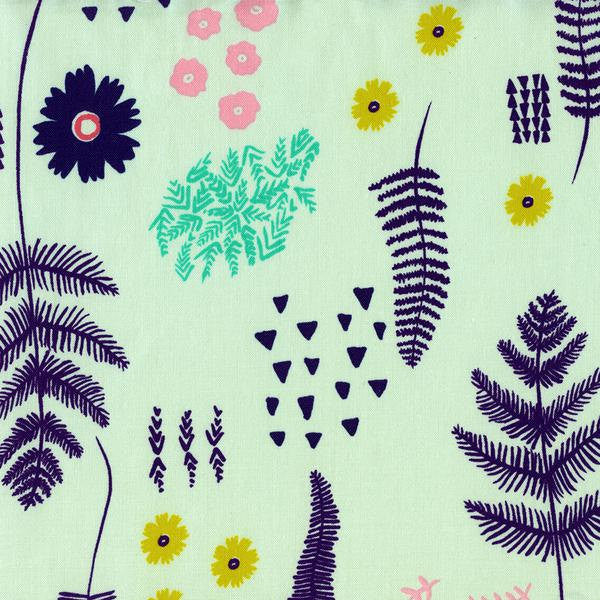 Ferns and flowers on mint green cotton from Cotton and Steel Fabrics - view 1