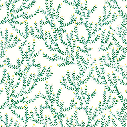 Green catnip floral on white cotton from Andover Fabrics - view 1