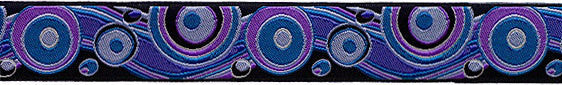 Pretty purple circles on sewing ribbon by Renaissance Ribbons - view 2