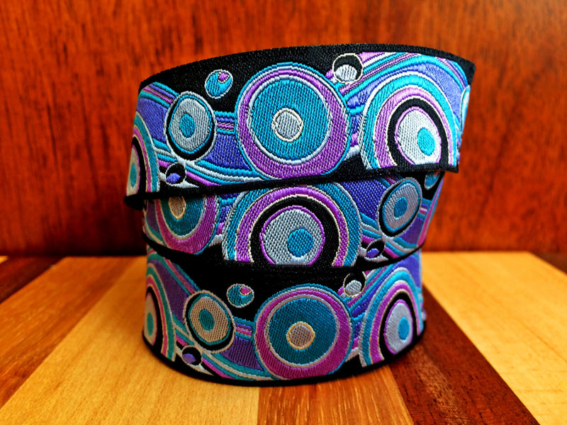 Pretty purple circles on sewing ribbon by Renaissance Ribbons - view 4