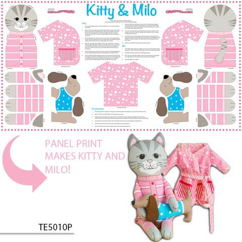 Sewing instructions and material on cotton to make a cat from Ella Blue Fabrics - view 1