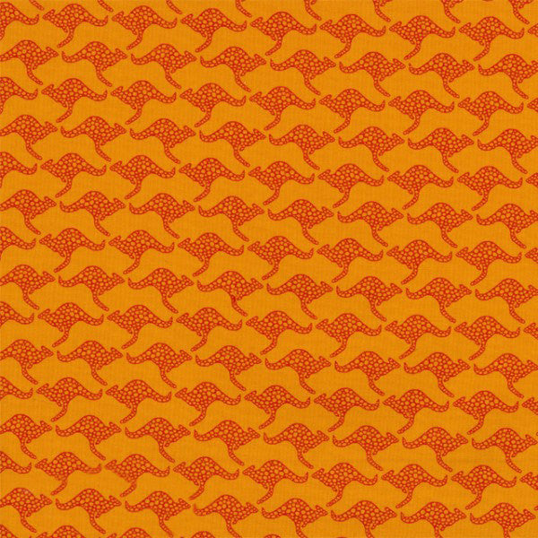 Small red kangaroo on orange cotton from Ella Blue Fabrics - view 1