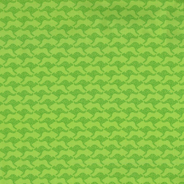 Small kangaroos on bright green cotton from Ella Blue Fabrics - view 1