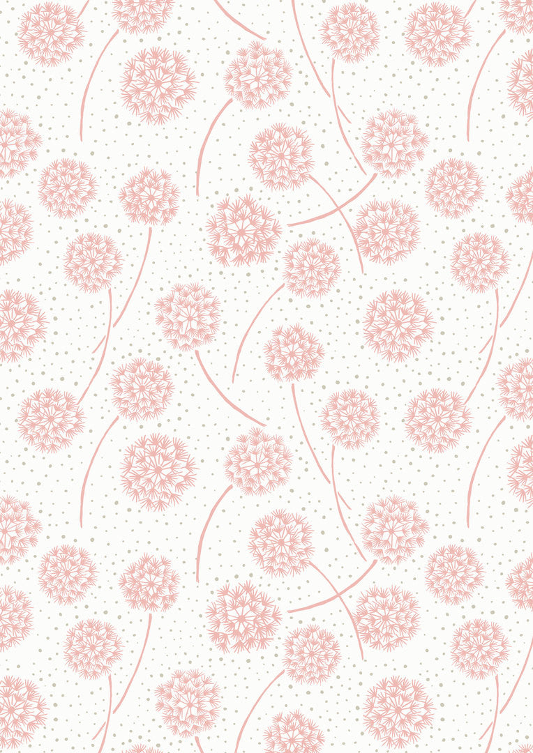 Floating pink dandelions on white cotton fabric from EE Schenck - view 1