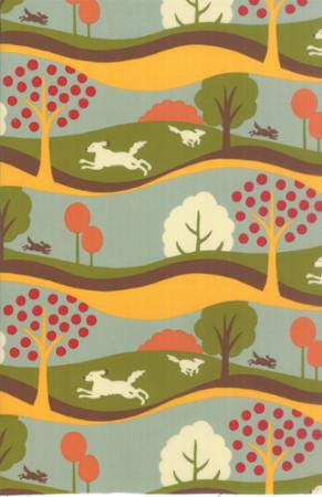Dogs and cats on woodland cotton fabric from Moda Fabrics - view 1