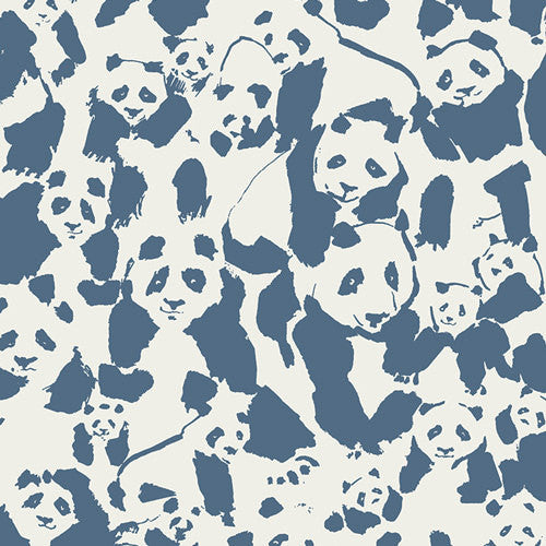 Panda and bamboo on blue cotton from Kokka Fabrics - view 1
