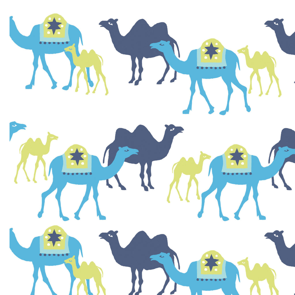 Blues camels on white knit organic cotton from Monaluna Organic Fabric - view 1