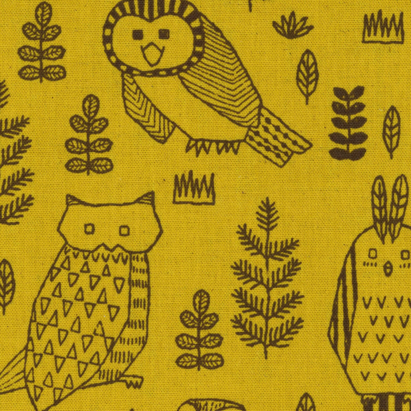 Owls on yellow canvas from Kokka Fabrics - view 1