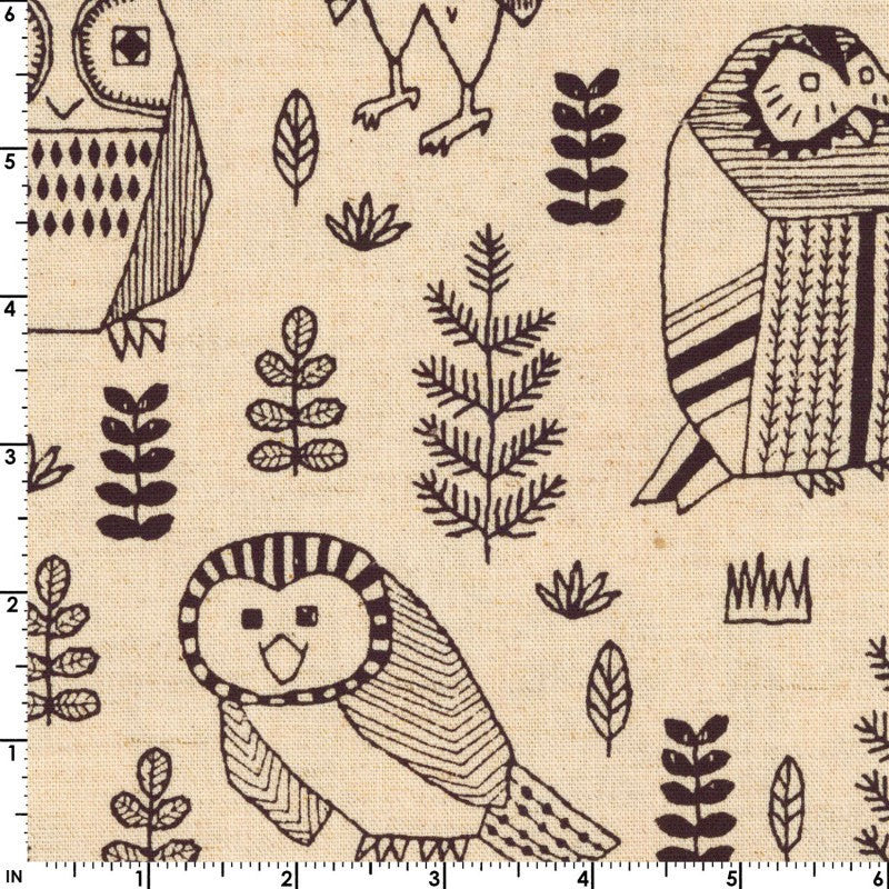 Owls on white canvas from Kokka Fabrics - view 2