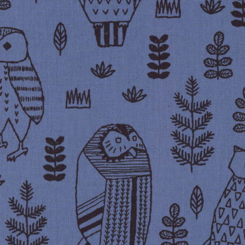 Owls on blue canvas from Kokka Fabrics - view 1
