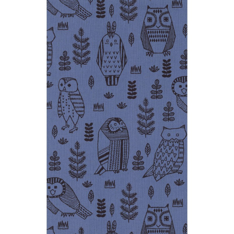 Owls on blue canvas from Kokka Fabrics - view 3