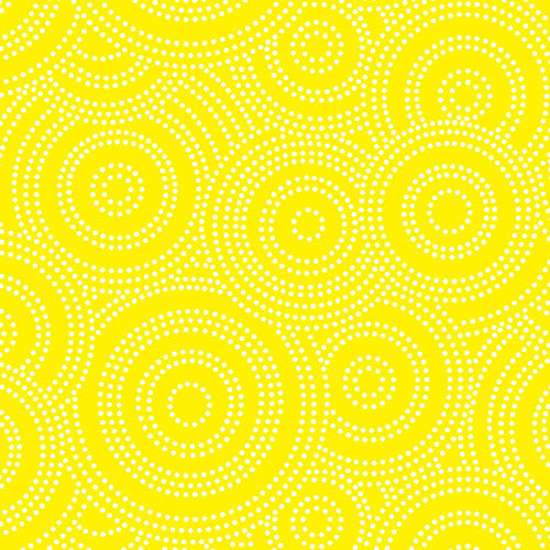 Yellow dotted spirals on white and yellow cotton from Andover Fabrics - view 1