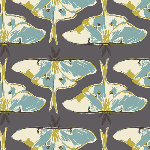 Large blue moths on dark gray cotton from Art Gallery Fabrics - view 1