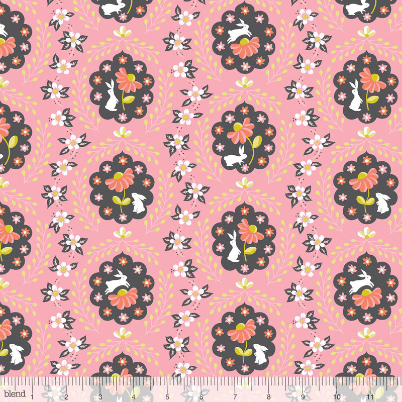 Cute white bunny rabbits on pink cotton from Blend Fabrics - view 1