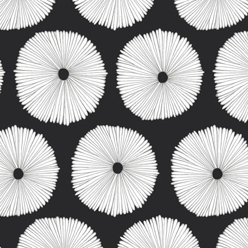 Large flowers on black and white fabric from Art Gallery - view 1