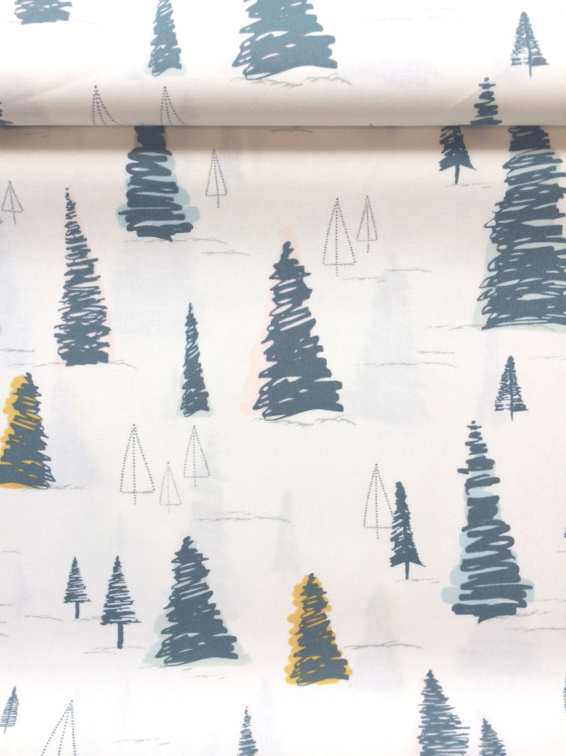 Pine trees on white cotton from Art Gallery Fabrics - view 2
