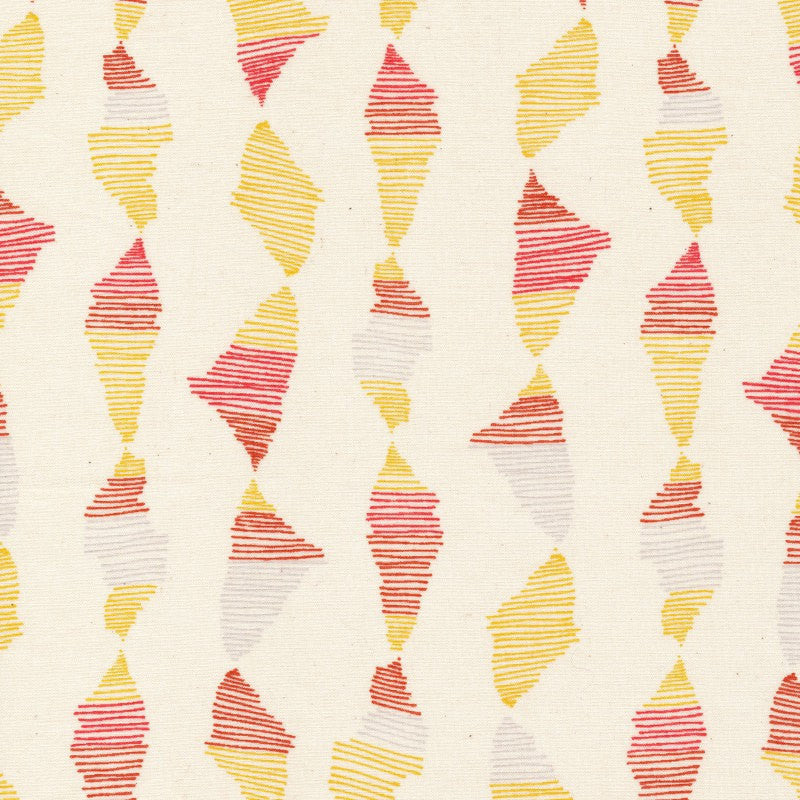 Red and yellow stripes on natural cotton from Cloud 9 Fabrics - view 1