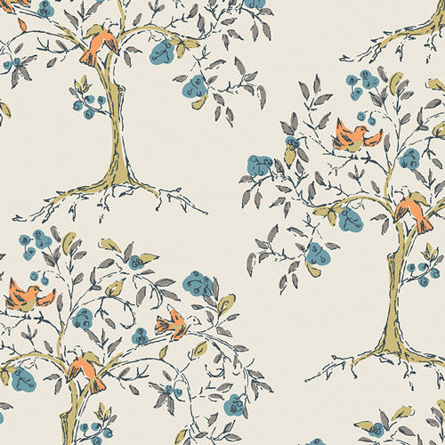 Trees and birds on white cotton from Art Gallery Fabrics - view 1