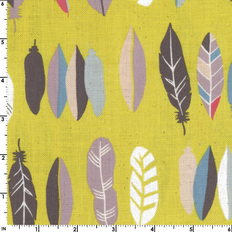 Feathers on yellow canvas from Kokka Fabrics - view 1