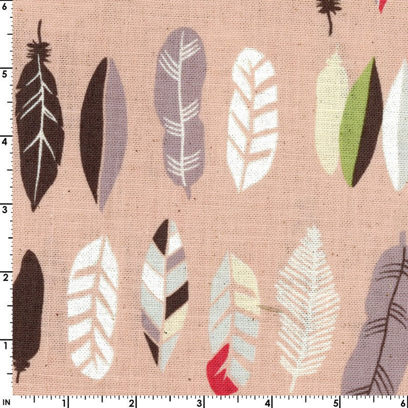 Feathers on pink canvas from Kokka Fabrics - view 1