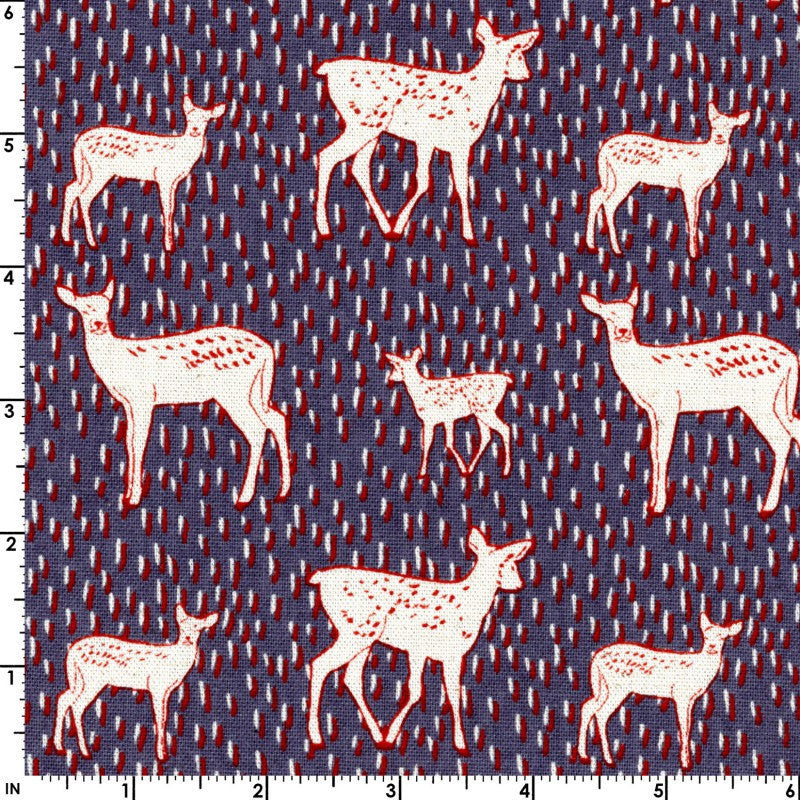 Deer Fabric | Fawn Print | Navy | Canvas | Kokka Fabric | Dark Blue | Woodland Print | Enchanted Forest | Fairy Tale | Woodland Animals