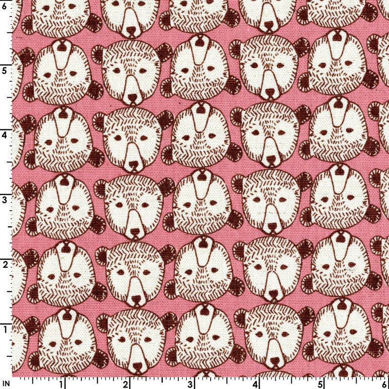 Cute little bear faces on pink canvas fabric from Kokka Fabric - view 1