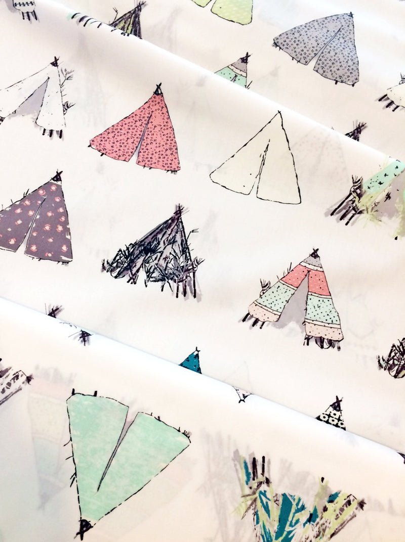 Tents on white cotton from Art Gallery Fabrics - view 3