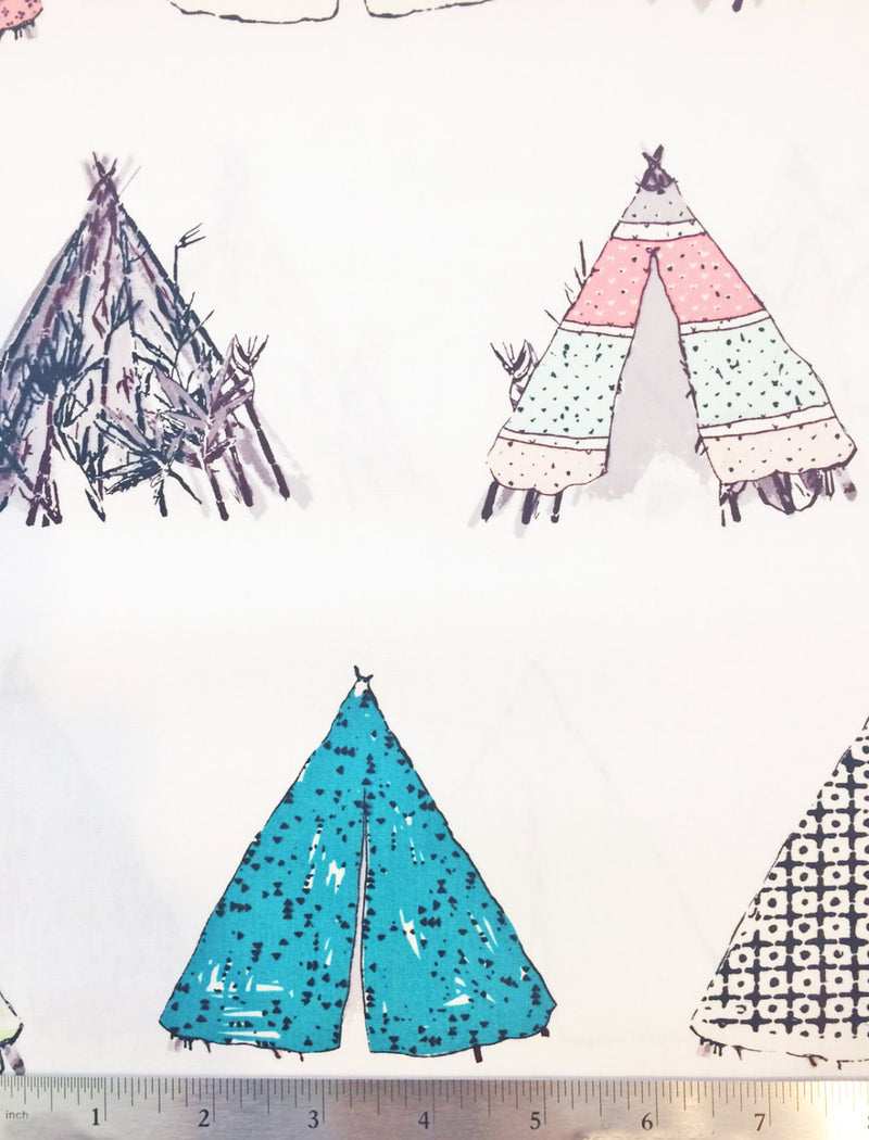 Tents on white cotton from Art Gallery Fabrics - view 4