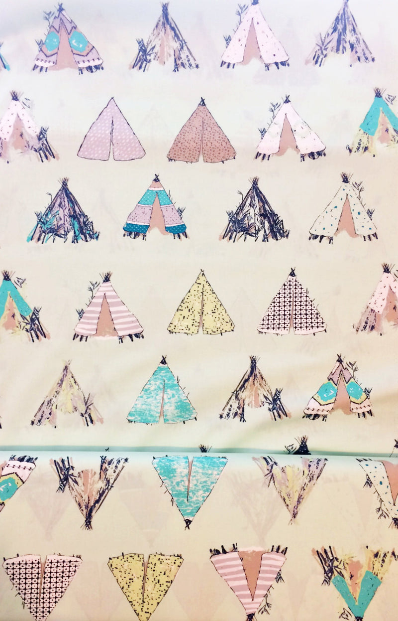 Tents on mint green cotton from Art Gallery Fabrics - view 2