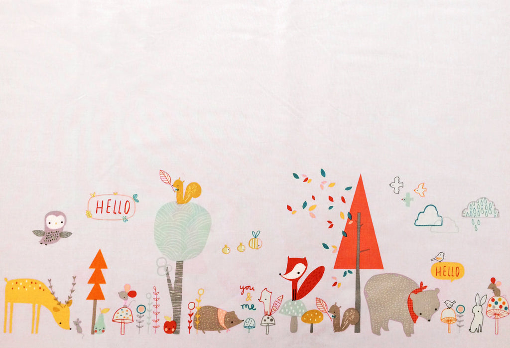 Cute forest animals on pink cotton from Blend Fabrics - view 1