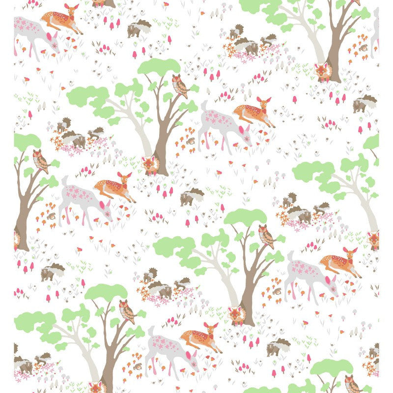 Deer and trees on white organic cotton from EE Schenck Fabrics - view 2