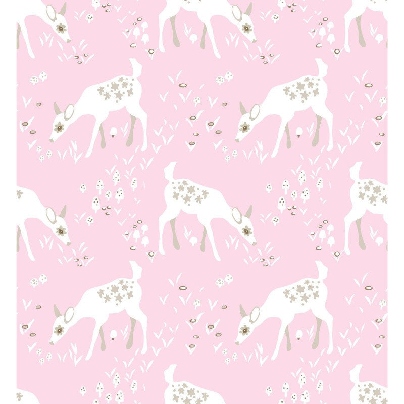 White deer on pink organic cotton from EE Schenck Fabrics - view 2