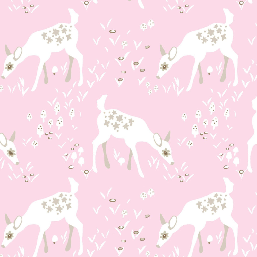 White deer on pink organic cotton from EE Schenck Fabrics - view 1