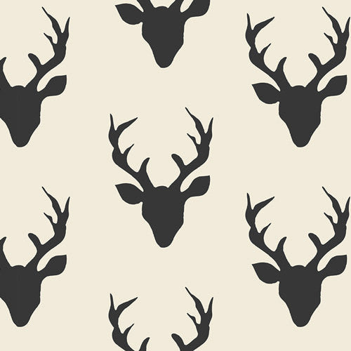 Deer Fabric | Home Decor Canvas | Buck Forest | Wide Canvas by the Yard | Black and White | Animal Print | Woodland | Elk | Christmas