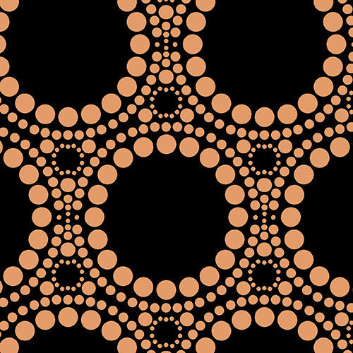 Silver metallic circles on black cotton from Andover Fabrics - view 1