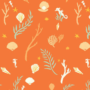 Orange and green coral and seahorse fabric on organic cotton from Birch Organic Fabrics - view 1