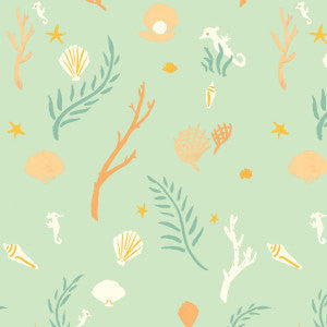 Seahorses on mint green organic cotton from Birch Organic Fabrics - view 1