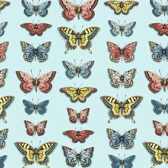 Pretty butterflies on light blue cotton fabric Andover Fabrics - view 1