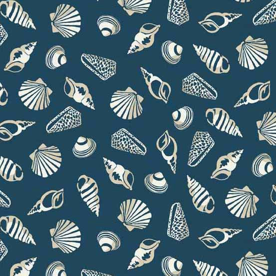 Seashells on blue cotton from Andover Fabrics - view 1
