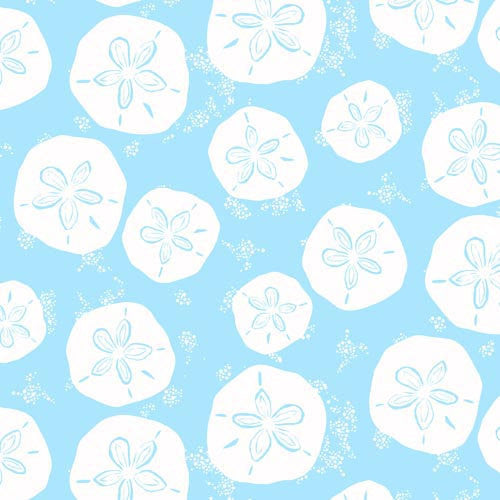 White sand dollars on blue cotton from Art Gallery Fabrics - view 1