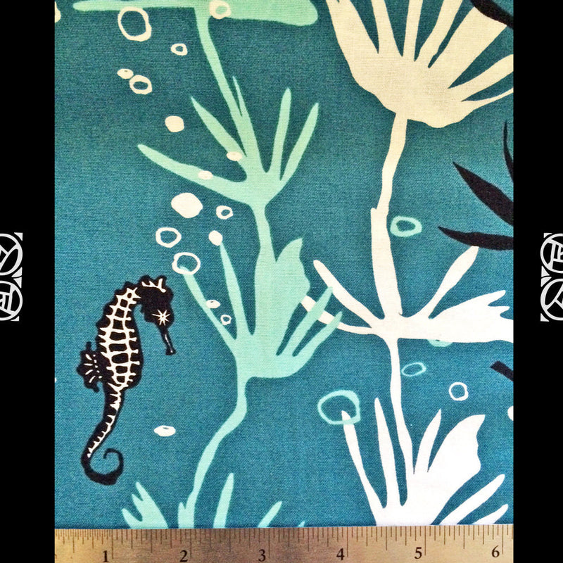 Seahorses on blue cotton from Andover Fabrics - view 4
