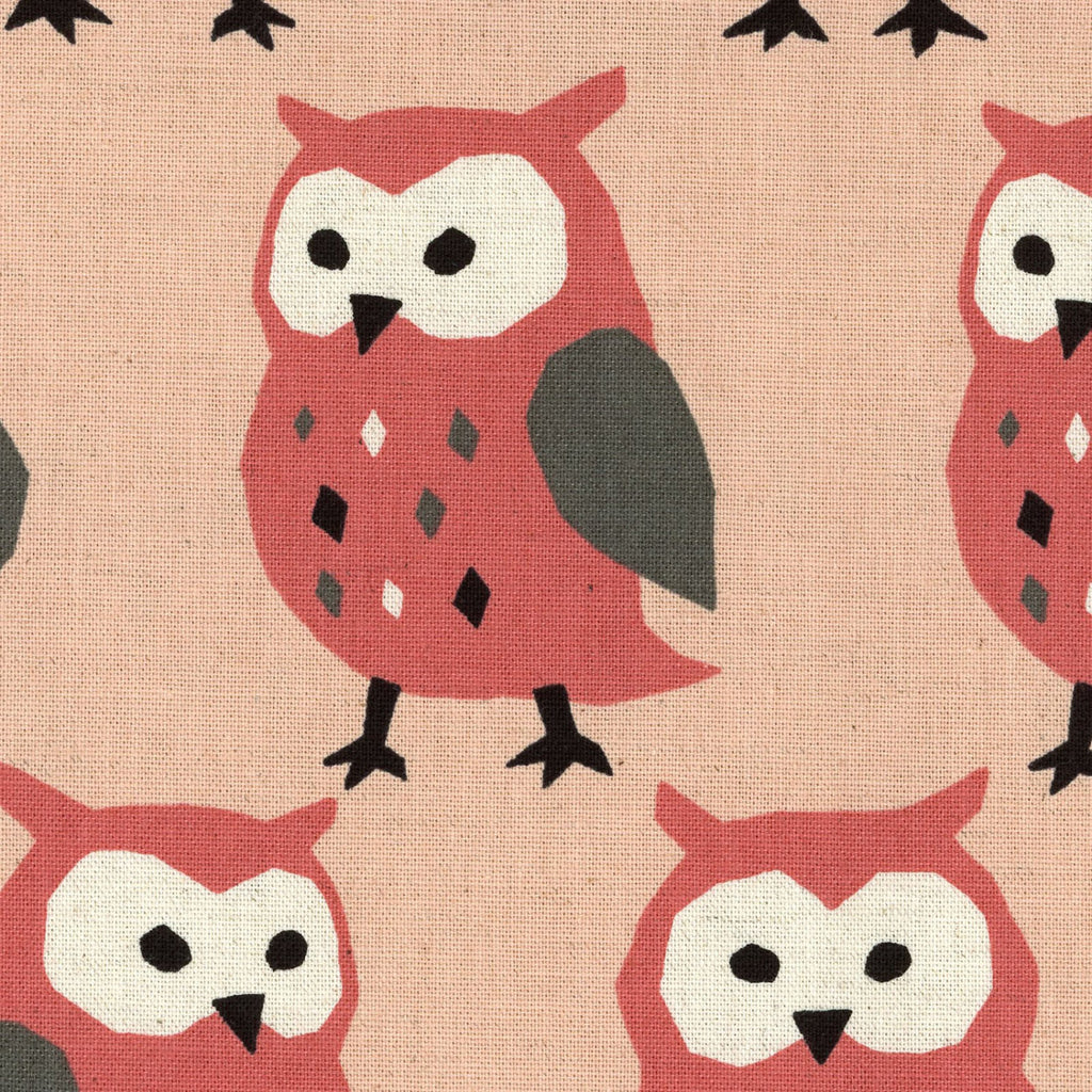 Cute large owls on pink canvas from Kokka Japanese Imports