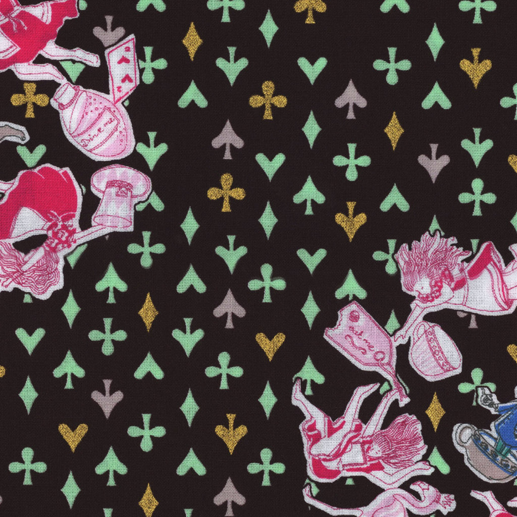 Unique Alice in Wonderland Fabric including her rabbit friends from Kokka Japanese Import Fabrics - view 1