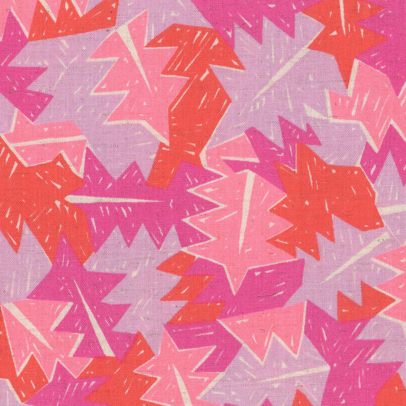 Leaves on pink cotton frabric from Kokka Fabrics - view 1