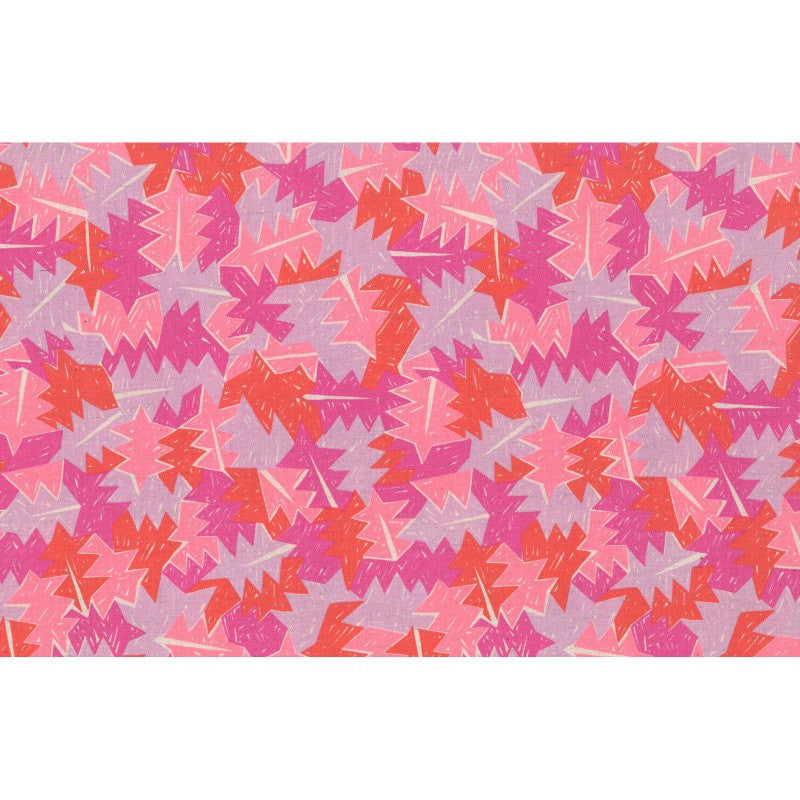 Leaves on pink cotton frabric from Kokka Fabrics - view 3