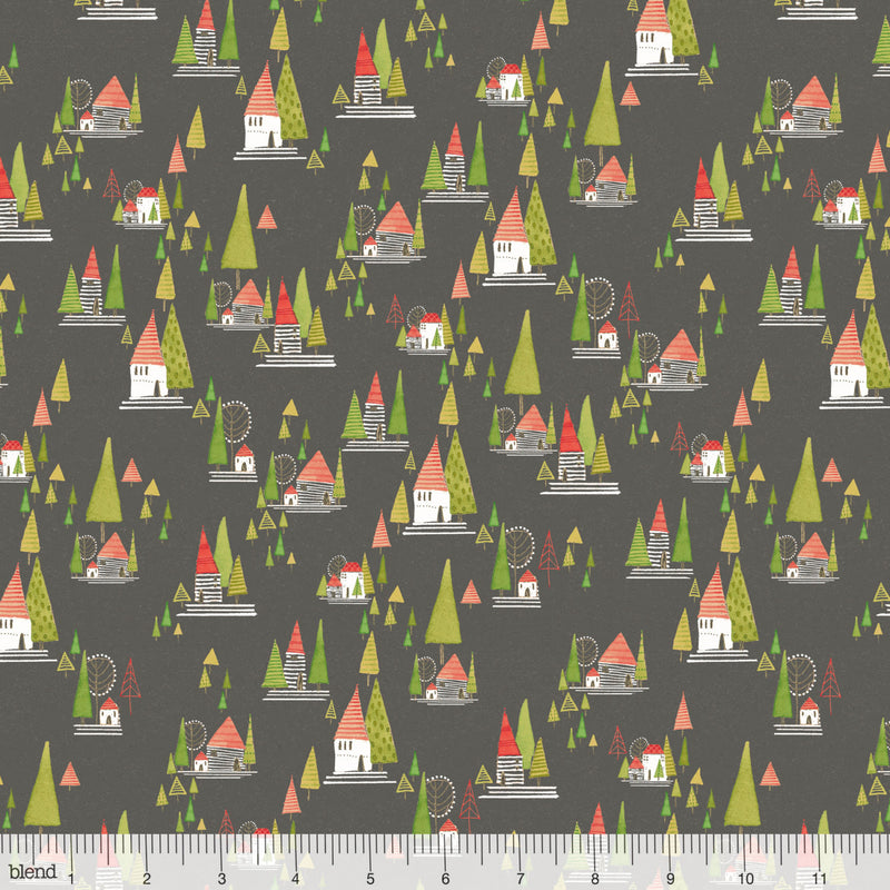 Winter village on black cotton from Blend Fabrics - view 1