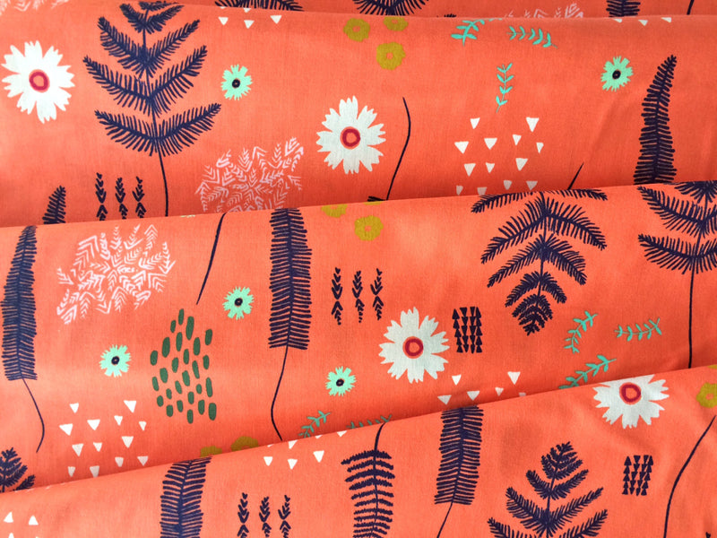 Flowers on coral orange cotton from Cotton and Steel Fabrics - view 2