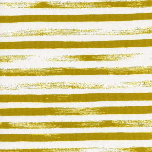 Thick golden stripes on unbleached cotton from Cotton and Steel Fabrics - view 1