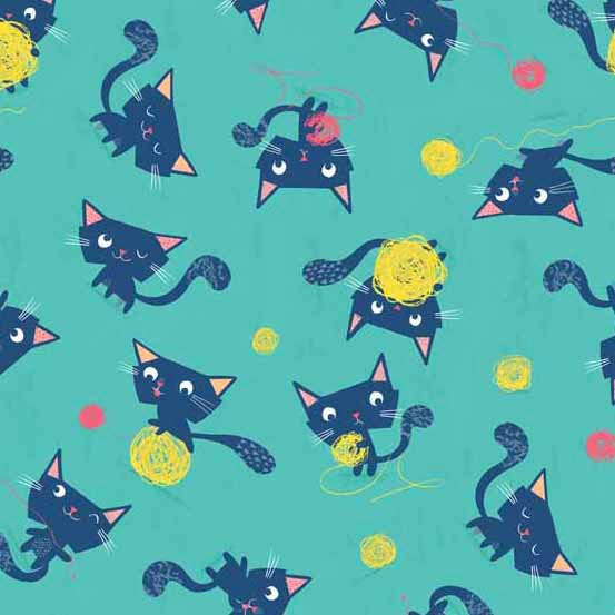 Kitty cat fabric on blue cotton from Andover Fabrics - view 1