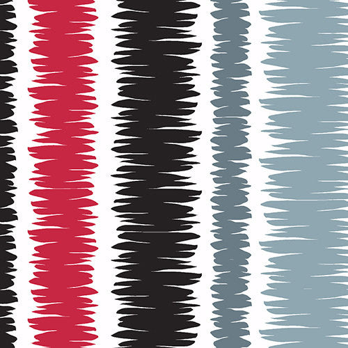Thick scribbled stripes in black and red on white cotton from Andover Fabrics - view 1